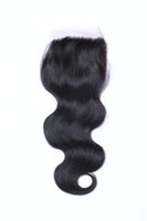 Wholesale Boby Wave Brazilian Hair - Brazilian Hair Boby Wave 4x4 Free Part Lace Closure with Baby Hair Natural Black Color Brazilian Human Hair Closures Bleached Knots