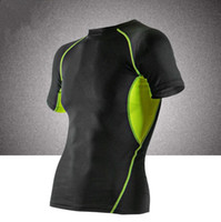 Wholesale Spandex Under Clothes - Newest Men's Short Sleeve Compression Under Base Layer T-Shirts Athletic Skin Tops Short Sports Body Armour Man Fitness Gym Clothing Tshirt