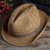 Wholesale Straw Hat Man Panama - Men and Women Panama Straw Hats Fedora Stingy Brim Hats Soft Vogue For Unisex Summer Sun Beach Caps Linen Jazz Hats
