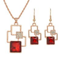 Rose Gold Plated Red Rhinestone Geométrica Moda Brincos e Colar Jóias Set