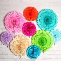 Wholesale Diy Paper Fan - 25cm Colorful Hollow Out Fan Paper Flower DIY Wedding Party Decoration Birthday Party Ornament Free Shipping ZA3837