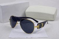 Wholesale Brand Men Leather Coat - Italy designer men women brand sunglasses metal frame removable leather buckle Medusa vintage eyeglasses coating lens eyewear lunette