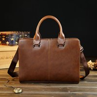 Wholesale Horse Silk - New men's handbags crazy horse PU bag man briefcase personality business bag classic Shoulder Messenger