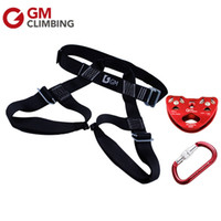 Wholesale Pulley Sizes - Climbing Set Sizes Half Body Rock Climbing Harness & Zip Line Trolley Pulley & Climbing Carabiners 25 Kn Rappelling Zipline