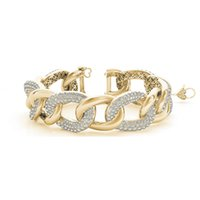 Wholesale Italian Rope Chain - 11.43 SI1 White Round Diamond Bracelet Bangle Italian Made14k YG For Women