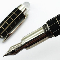 Wholesale luxury white pen - luxury Classique black checkered Fountain Pen 14k 4810 nib white star crystal top Ink Pen with series number