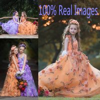 Wholesale Embroidery Applique Children - 100% Real Images Girls Pageant Dresses Children V Neck Handmade Flowers Embroidery Flower Girls Dresses Personalized Girls Wedding Dress