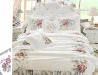 Wholesale lace flower bedding king for sale - Group buy rural style falbala bud lace bed skirt bedding set flower pictures cotton fabric with reactive printing queen king duvet covers