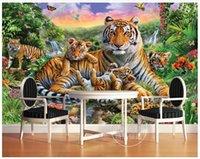 orman hayvanları duvar resimleri toptan satış-High end Özel 3d fotoğraf duvar kağıdı duvar resimleri duvar kağıdı Tropikal yağmur ormanları hayvan kaplan bitki orman şelale kelebek duvar ev dekor