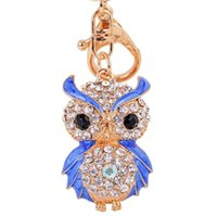 Wholesale Owl Enamel Ring - Lovely Enamel Owl Key Chains Rings Holder Amazing Rhinestone Purse Bag Buckle Pendant For Car Keyrings KeyChains