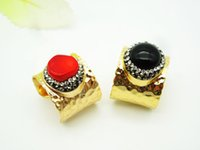 Wholesale Red Natural Coral Ring - Wholesale 2 PCS Natural Red Coral Rock Opening Ring,Natural Black Gemstone Gold Plating Ring,Men and Women Fashion Jewelry