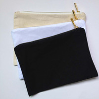Wholesale Black Paint Canvas - plain natural cotton canvas make up bag with matching color lining for DIY paint print blank cosmetic bags toiletry bags white black cream