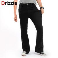 Wholesale Mens S Boots - Wholesale- Drizzte Men's Slim Bootcut Stretch Jeans Classic Black Denim Flare Jeans Boot Cut Plus Size 35 36 38 40 42 44 46 for Mens' Jeans