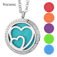 Wholesale Double Heart Crystal Necklace - Essential Oil Diffuser Locket Necklace 316L Stainless Steel Perfume Locket Pendant Double Heart Crystal Magnetic without Felt Pads VA-274