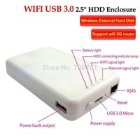 Wholesale Sata 3g - Wholesale- 2pcs 2.5'' Wifi HDD Enclosure case Wireless HDD External Hard Disk,with WiFi storage,3g WiFi router 3000MA power bank funtion