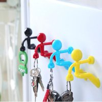 Wholesale Wholesale Magnets For Refrigerator - Wall Key Creative Mini Strong Man Magnetic Pete Wall Climbing Magnet Holder Key Hook Refrigerator Sticker for Home Decoration DHL