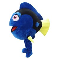 Wholesale Adult Clown Fish Mascot - OISK Cartoon Blue Fish Mascot Costume Set for Adult Kid Dress Up Play and Party Halloween Animal Fancy Dress Suit