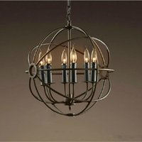 15 ~ 20sq.m orb chandelier - RH Lighting Restoration Hardware Vintage Pendant Lamp Foucault s Iron Orb Chandelier Rustic Iron RH Loft light Globe Style cm cm cm
