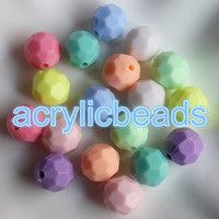 Wholesale Plastic Faceted Round Beads - Vintage Fcatory 6-18mm Mix Color Opaque Solid Pastel Plastic Round Faceted Beads Acrylic Gumball Loose Disco Ball Jewelry Making Low Price