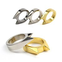 Wholesale Self Defense For Women - 1Pcs EDC Tactical Self Defense Supplies Tool Stainless Steel Safety Survival Finger Ring Defence Accessories for Men Women