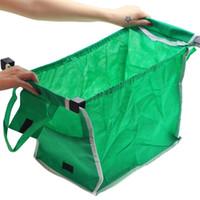 ingrosso tote carrello-Riutilizzabile Grande Trolley Drogheria Shopping Bags Pieghevole Borsa di Stoccaggio Organizzatore Tessuto Non Tessuto Verde Ad Alta Capacità Vendita Calda 6 5rs J1