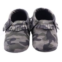 Wholesale Toddler Canvas Slippers - Wholesale- 1 pair Baby Girls Boys Camouflage Crib Shoes Toddler Tassel Soft Slippers Shoes 0-12M