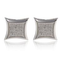 Wholesale Diamond Earring 18k - Fashion wedding Jewelry 18K gold plated Stainless Steel CZ diamond Stud Earrings For boys girls And men Women