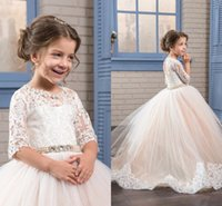 Wholesale Halloween Light Up Shirts - High Quality Ball Gown Tulle Flower Girls' Dresses 2017 Half Sleeves Lace Appliques Crystal Jewel Lace-Up Back Girl's Pageant Party Dresses