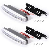 luzes drl universais venda por atacado-Frete grátis 2 pcs 8 LED Car Universal Luz DRL Daytime Running Head Lâmpada Super Cor Branca