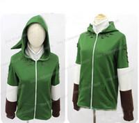 zelda link cosplay disfraces al por mayor-Al por mayor- The Legend of Zelda Link cremallera sudadera con capucha chaqueta de traje de Cosplay para hombres y mujeres