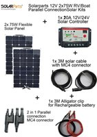Wholesale Rv Solar Panel Kits - Solarparts 2x75W DIY RV Boat Kits Solar System flexible solar panel 1x 10A solar controller 1 set 3M MC4 cable 1 set clip