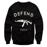 Wholesale Rifle Sleeve - Wholesale-Men Women Letters GIV DEFEND PARIS AK47 Automatic Rifles Print Slim Fit Black Hoodies Pullover Hiphop 3D Sweatshirts Jersey Tops