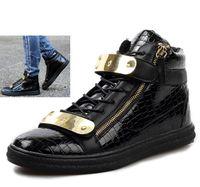 Wholesale Patterned High Heel Shoes - New 2014 Design Men Sneakers Fashion High Top Casual Men Shoes Men's Brand Sneakers Crocodile Pattern Zipper Metal Buckle Strap