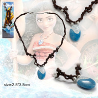 Wholesale Necklace Opp Bag - New Moana Princess Necklace Charm Crystal Choker Pendant Necklace With Pearl Cosplay Party Gifts Movie Jewelry Opp bag Pack PX-S59