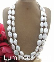 Wholesale Pearl Necklace 17mm - FC012606 2 Strands Natural 17MM Keshi Pearl Necklace