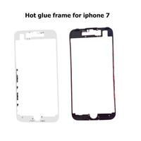 lunette 5s achat en gros de-100pcs / lot DHL pour iPhone 5 5S 5C 6 6S 7 7 Plus titulaire support de cadre lunette avant avec colle adhésive de remplacement à chaud