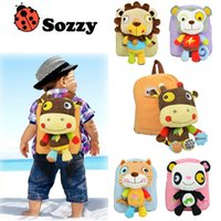 Wholesale Wholesale Wheeled Backpacks - New SOZZY Toddler School Bags Cartoon animal Children Bags Backpacks 2-5year old Wheeled Backpack kids Shoulder Bags boys girls Bag A711