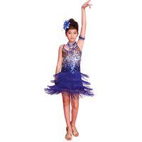 Wholesale Kids Dance Latin Skirt - Children Sequined Latin Ballroom Dance Dress Kids Girls Dancewear Fringe Skirts Latin Stage Dance Costume Clothing Children