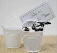 белые ведра для мини-ведер оптовых-Бесплатная доставка элегантный белый мини-ведра свадебной, мини-ведро, коробки конфет сувениры,пользу банок LLFA
