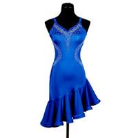 tango için balo dansı elbiseleri toptan satış-Latin Samba Dans Elbise Kadın Kızlar Balo Elbise Salsa Dans Yarışması Elbiseler Tango Balo Salonu 2 Seçimler D0199 Rhinestones Ruffled Hem