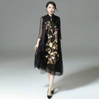 Wholesale Chinese Dress Factory - Chinese Style Ethnic Embroidery flower women silk organza dresses fake two pieces plus size XXL factory wholesale Customized Black Red