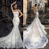 Wholesale Custom Designed Fitted Caps - 2017 Crystal Design Mermaid Wedding Dresses Sweetheart Fitted Lace Appliques Robe De Soiree Arabic Sexy Bridal Gowns with Court Train