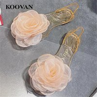 Wholesale big bottom sandals - Koovan Fashion Women Sandals 2017 New Summer Flat Bottom Yarn Flower Beach Shoes Non-Slip Rubber Out-Sole Big Size 35-40 Three Color W087