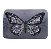 Wholesale New Black Bathroom Rugs - New 40*60cm Butterfly Bath Mats Anti-Slip Rugs Coral Fleece Carpet For For Bathroom Bedroom Doormat Online
