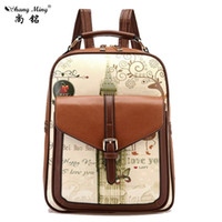 Wholesale Vintage Preppy Backpacks For Girls - Wholesale- New Brand Women Backpack Vintage Printing Backpacks For Teenage Girls School Bags Preppy Style Pu Leather Backpack