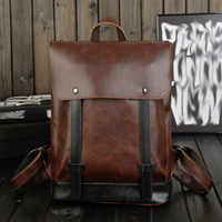 Wholesale Full Computer Bags - Free Shipping New Full Crazy Horse Genuine Cowhide Skin Leather Men Women's Travel Backpack School Student Day BackPack Notebook Laptop Bag