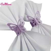 anillos de servilleta de papel de la mariposa de pearlescent de la lavanda de lot para la decoracin de la tabla del serviette del partido
