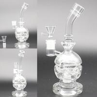 Wholesale Crystal Skull Glasses - Mini Crystal Clear Skull Bong Dab Rigs Beaker Two Function Glass Bong Heady Fab Egg Glass Pipe Handhold Mini Skull Pipe Thicken Bottom