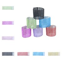 Wholesale wholesale rhinestone napkin rings - Hot 8 colors Napkin Ring Rhinestone Mesh Wrap Wedding Banquet Dinner Decor Bow Covers Plastic Ring Napkin buckles 600pcs IB236