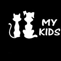 Atacado 10pcs / lot My Kids Cute Animals Cat Dog Juntos Car Sticker para Motorhome Wall SUV Janela Motorcycle Laptop Car Decor Vinyl Decal